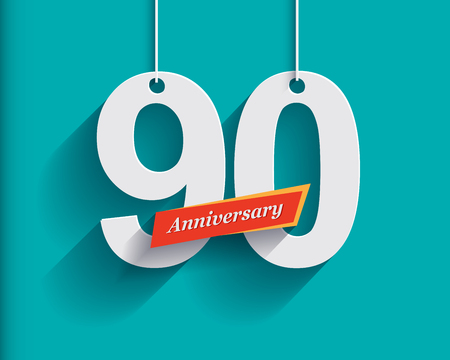 90th: 90 Anniversary numbers with ribbon. Flat origami style with long shadow. Vector illustration