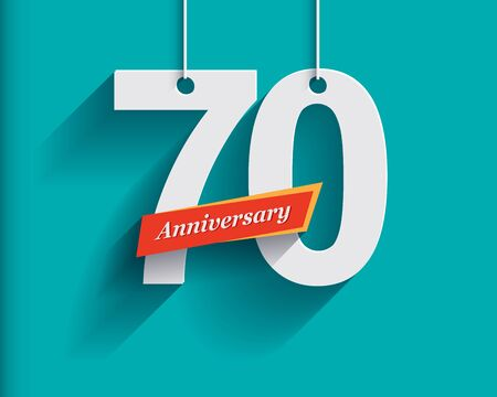 origami numbers: 70 Anniversary numbers with ribbon. Flat origami style with long shadow. Vector illustration