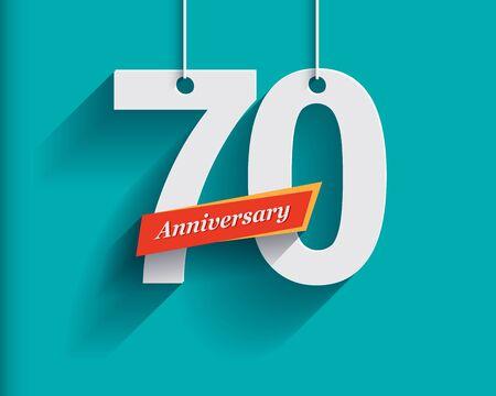 anniversaire: 70 numéros d'anniversaire avec le ruban. Appartement style origami avec une longue ombre. Vector illustration