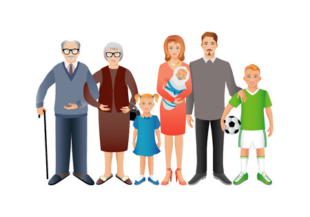 Big happy family. Father, mother, son, daughter, grandfather, grandmother, baby. Generation. Realistic images isolated on white background. Foto de archivo