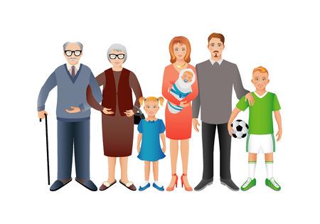 abuelo: Gran familia feliz. Padre, madre, hijo, hija, abuelo, abuela, bebé. Generación. Imágenes realistas aislados sobre fondo blanco.