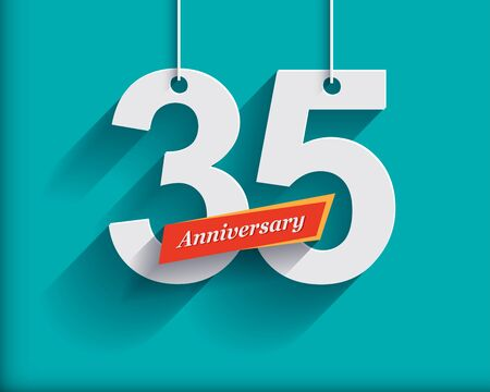 origami numbers: 35 Anniversary numbers with ribbon. Flat origami style with long shadow. Vector illustration Stock Photo