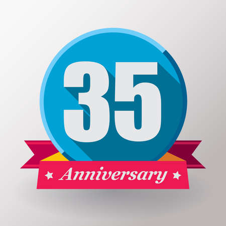 35: 35 Anniversary   label with ribbon. Flat design. Stock Photo