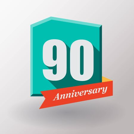 90: 90 Anniversary   label with ribbon. Flat design. Stock Photo