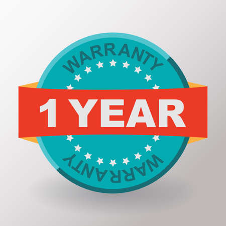 1 year: 1 year warranty label with ribbon. Flat design. Stock Photo