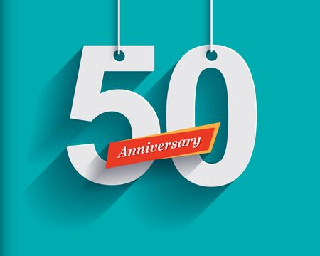 anniversary: 50 Anniversary numbers with ribbon. Flat origami style with long shadow. Vector illustration