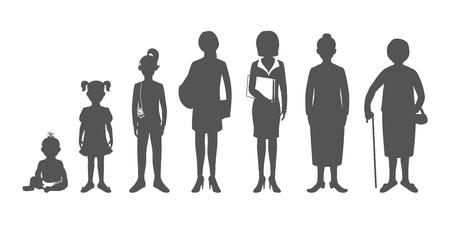노인 유아에서 여자의 생성. 아기, 어린이, 십대, 학생, 비즈니스 여자, 성인과 수석 여자. 현실적인 이미지는 흰색 배경에 고립입니다.