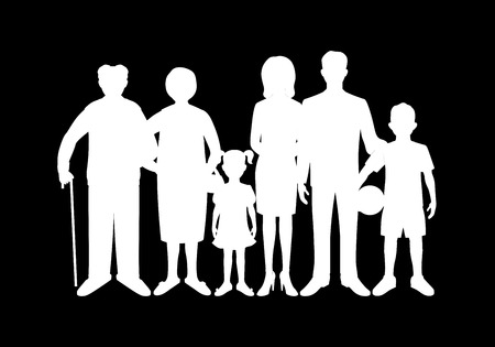 grandfather and grandmother: Big happy family. Father, mother, son, daughter, grandfather, grandmother, baby. Generation.