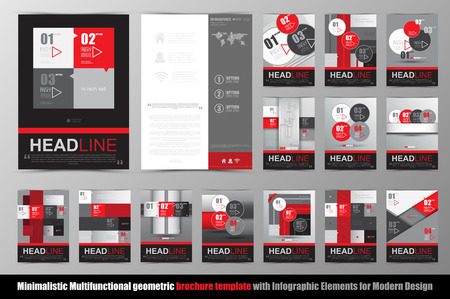 black and red: Abstract geometric brochure template. Map.Flyer Layout.