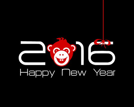 numbers clipart: 2016 New Year card or background with monkey. Happy New Year. Merry Christmas. Year of the monkey!