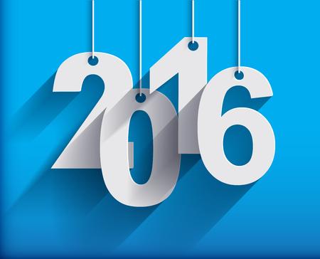 nowy rok: 2016 karta biała księga origami lub tło. Szczęśliwego Nowego Roku. Wesołych Świąt. Ilustracja