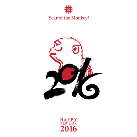 Calligraphy 2016 Happy New Year sign card with Monkey isolated on white background.