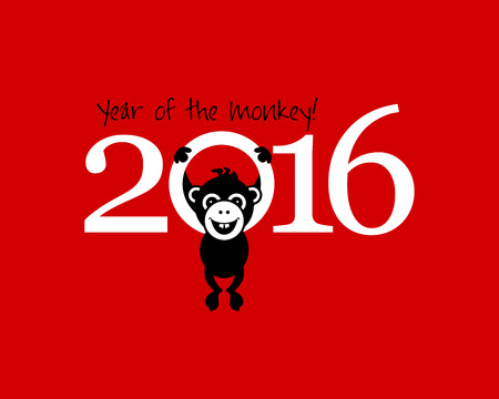 monkey face: 2016 New Year card or background with monkey. Happy New Year. Merry Christmas. Year of the monkey!