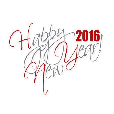 typography: 2016 Happy New Year hand lettering card or background.