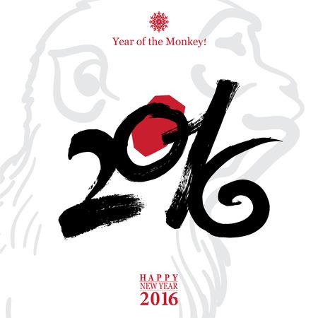 monitos: Caligraf�a 2016 Feliz A�o Nuevo tarjeta de la muestra con el mono aislado en fondo blanco.
