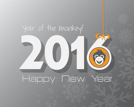 baboon: 2016 New Year card or background with monkey. Happy New Year. Merry Christmas. Year of the monkey!