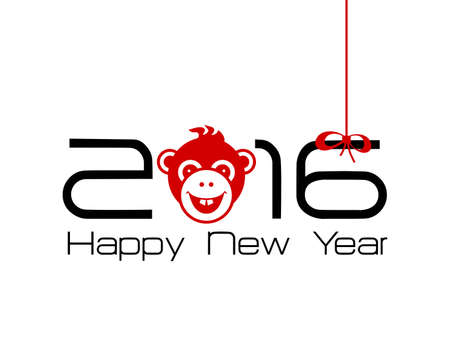 numbers background: 2016 New Year card or background with monkey. Happy New Year. Merry Christmas. Year of the monkey!
