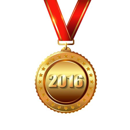 january 1st: Happy New Year 2016.Award Gold Medal isolated on white with red ribbon and stars. Illustration
