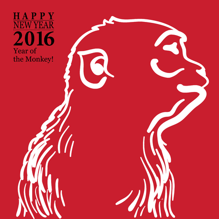 monkey silhouette: Calligraphy 2016 Happy New Year sign card with Monkey isolated on white background.