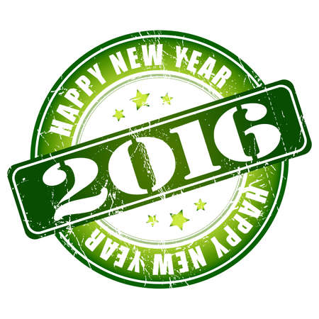happy new year stamp: Happy New Year 2016 grunge rubber stamp.