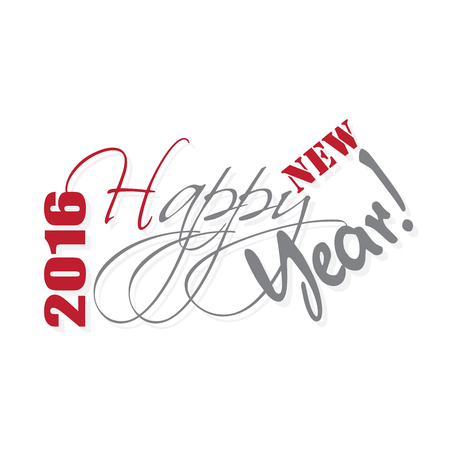 hand lettering: 2016 Happy New Year hand lettering card or background.