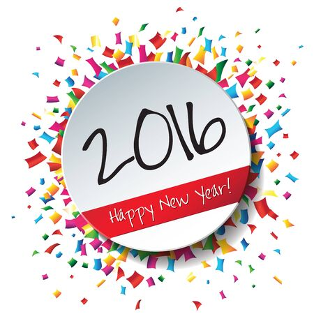 happy new year stamp: Happy New Year 2016 flat label and stamp.  2016 Merry Christmas card and background.