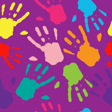 Seamless Pattern Hand Colorful Prints.