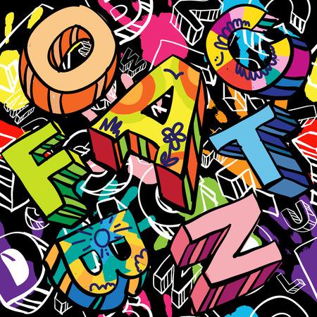 graffiti: Patrón sin fisuras con las impresiones de la mano de colores y manuscrita Font.Graffiti estilo. Estilo Hipster.