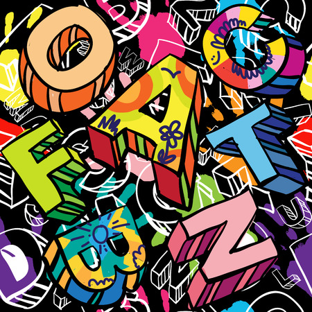 style: Seamless Pattern con mano stampe colorate e scritto a mano Font.Graffiti Style. Hipster Style.