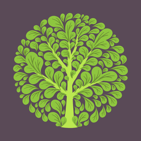 green floral: Tree logo template. Beautiful tree card or background.