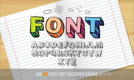 abc letters: Handwritten 3d Ink Font.