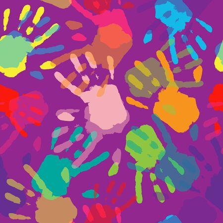 civil partnership: Seamless Pattern Hand Colorful Prints.