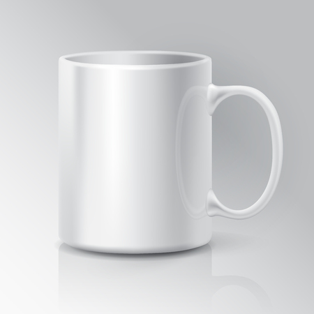 mock up: Realistic White Coffee or Tea Cup Isolated on White Background.  Design Template for Mock Up.