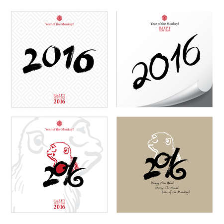 monkey silhouette: Calligraphy 2016 Happy New Year sign Cards Set with Monkey isolated on white background. Happy New Year. Merry Christmas. Year of the monkey! Illustration