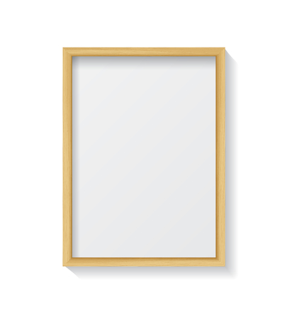 white picture frame: Realistic Light Wood Blank Picture Frame, hanging on a White Wall from the Front.  Design Template for Mock Up.