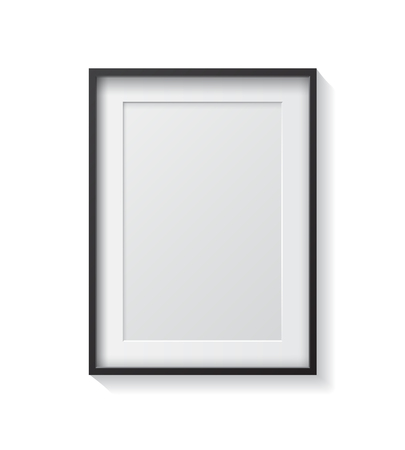 Realistic Black Blank Picture frame, hanging on a White Wall from the Front.  Design Template for Mock Up.