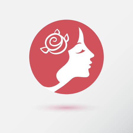 flower shop: The woman fashion icon or logo for beauty salon and cosmetology. Style for hairdresser. Flat design. Contour lines.