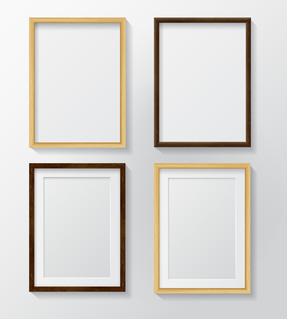 Set Of Realistic Light Wood Blank Picture Frames And Dark Wood ...