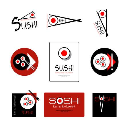 스시 레스토랑과 바에 대한 정체성 템플릿. 로고 또는 비즈니스 카드, 배너, 패턴, 브로셔 아이콘입니다. 초밥 평면 로고입니다.