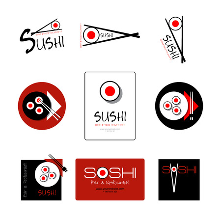 Template of identity for Sushi Restaurant and Bar. Logo or icon for Business card, Banner, Pattern, Brochure.  Sushi flat logo. Ilustração