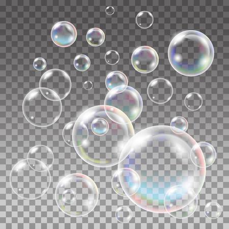 burbujas jabon: Jabón multicolor transparente Conjunto de las burbujas. esfera de la bola, azul agua y espuma, gel de aqua. Agua modelo de las burbujas en el fondo transparente. Vectores