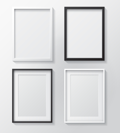 Set of White Blank Picture Frames and Black Blank Picture Frames, hanging on a White Wall from the Front.  Design Template for Mock Up. Ilustração