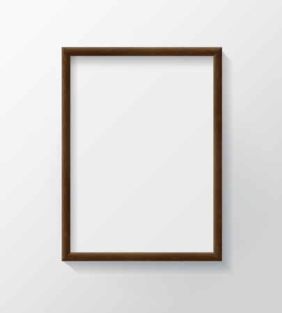 Realistic Dark Wood Blank Picture Frame, hanging on a White Wall from the Front.  Design Template for Mock Up.