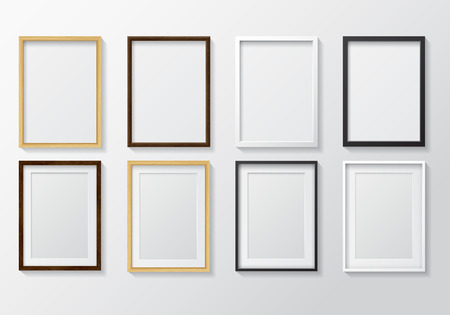 Set of Realistic Light Wood Blank Picture Frames and Dark Wood Blank Picture Frames,  hanging on a White Wall from the Front.  Set of White Blank Picture Frames and Black Blank Picture Frame.  Design Template for Mock Up.
