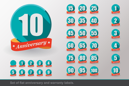 Set of Flat Anniversary and Warranty labels. Flat design.