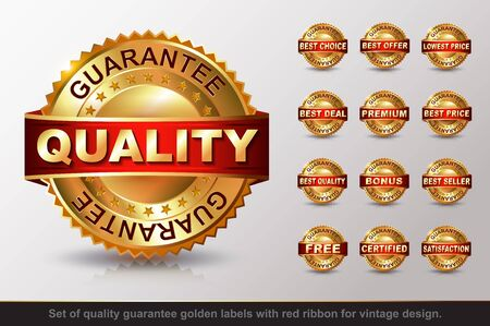 business symbols: Set of guarantee golden label with red ribbon.  Quality, Best Chouce, Best Offer, Lowest Price,  Best Deal, Premium, Best Price, Bonus, Seller, Free,  Certified, Satisfaction Illustration
