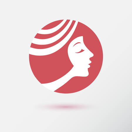 beauty icon: The woman fashion icon for beauty salon and cosmetology. Style for hairdresser. Flat design. Contour lines.