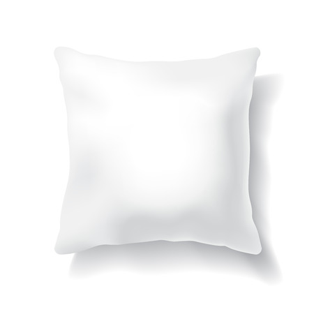 Blank White Square Pillow Isolated on White Background. Design Template for Mock Up.