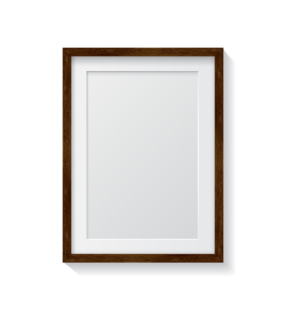 wood frame: Realistic Dark Wood Blank Picture Frame, hanging on a White Wall from the Front.  Design Template for Mock Up.