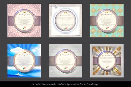 postcard background: Set of Old Invitation Card with Round Labels. Illustration